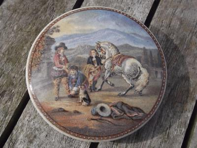 "19th Century Pratt Ware  Pot Lid PREPARING FOR THE RIDE No. 351 4"" Diameter"