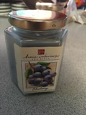 Home Interiors Blueberry Candle in a Jar 7.5 oz Hex