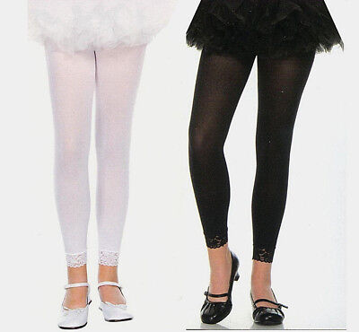 Music Legs 275 Child Footless Tights Lace Cuff Nylon Girls S M L XL White Black