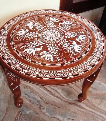 Vintage Elephant Carved Inlaid Work Coffee Round Table Rosewood Foldable New