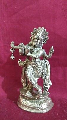 Krishna Brass Statue Temple Hindu God Krishnan Krsna Figurine Sculpture Idol
