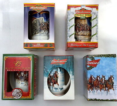 Budweiser Collector's Series Set of 5 Beer Stein Mug Clydesdale Horses Series