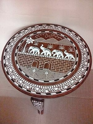 Elephant Carved Inlaid Work Coffee Round Table Rosewood Foldable Hand made Decor
