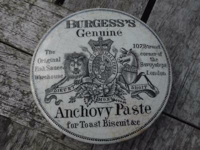 "19th Century Black and White  Pot Lid Burgess's Anchovy Paste 3 1/2"" Diameter"