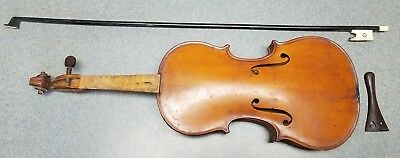 Antique Vuillaume a Paris French Violin Body with Bone Bow & Tailpiece NICE NR