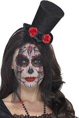 Day of the Dead Mini Top Hat, Black, on Headband, with Roses & Deta...  AC NEW