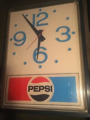 ORIGINAL 1970'S PEPSI-COLA ADVERTISING CLOCK SIGN 30 X 40 Metal Plastic