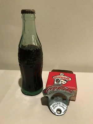 vtg Coca Cola Bottle Dubuque and Starr X Stationary Bottle Opener--With BOX
