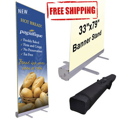 "Retractable Roll Up Banner 33""x80"" Display FREE SHIPPING"