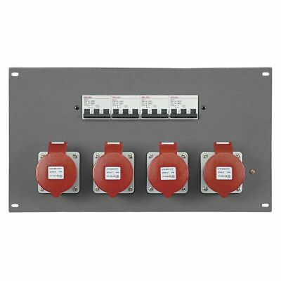 """Showtec PDP-324F 19"""" Panel with 4 x 32A CEE 5 pole + MCB (Stromverteiler)"""