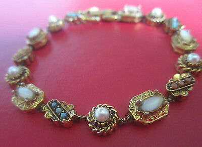 Vintage Signed ART MOTHER OF PEARL FAUX PEARL GLASS CHAIN BRACELET Antique Style