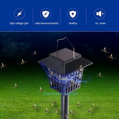 UV LED Solar Outdoor Mosquito Insect Pest Bug Zapper Killer & Night Garden Lamp