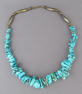 """VINTAGE OLD PAWN STERLING KINGMAN TURQUOISE NUGGET BEAD NECKLACE 16 1/2"""" 36.5g"""