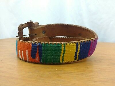 Vtg 80s Guatemalan Belt Tooled Leather Woven Cotton Boho Tribal Small XS Ethnic