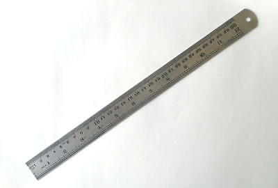 12 Inch Stainless Steel 2 Sided Metal Ruler In Inches & Metric SE (Sona) 9212SP