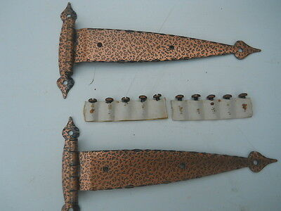 Hammered Antique Copper Finish Strap Hinges