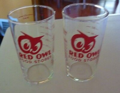 Set Of 2  Vintage Red Owl Food Store Glass Tumbler Measuring Cup