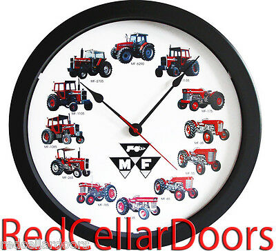 "New MASSEY FERGUSON 14"" Tractor Clock 12 Tractors MASSIVE Wheel Dial Black Logo"