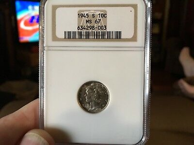1945-S  Mercury Dime NGC MS-67 , Nicely Toned