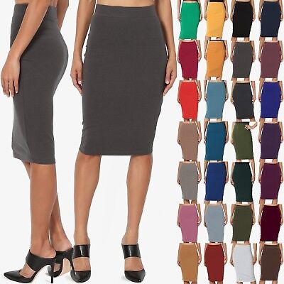 TheMogan Basic Comfort Stretch Cotton Elastic High Waist Knee Midi Pencil Skirt