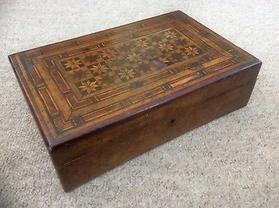 Antique Victorian Wood Trinket Box Intarsio Marquetry,Inlaid Jewellery Case,1800
