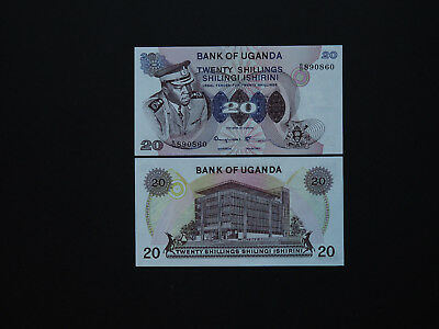 "UGANDA MEDIUM SIZE 20 SHILLINGS  ""AMIN""    p7   1973   SCARCE  IN  MINT UNC"