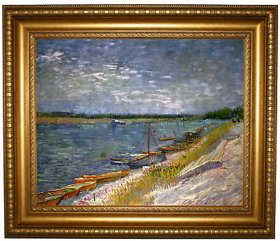 van Gogh View of a River with Rowing Boats Framed Canvas Print Repro 16x20