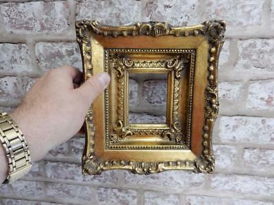 """vintage OLD picture frame gold fits a 3 1/2 inch  X 3 """" miniature"""