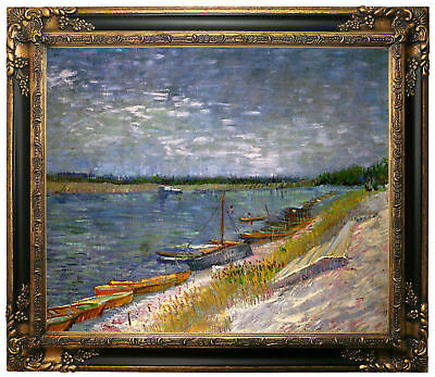 van Gogh View of a River with Rowing Boats Framed Canvas Print Repro 20x24
