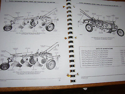 Used  John Deere Parts Manual - # 555 & 555H  3 - 4 Bottom Tractor Plows