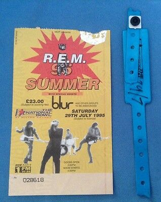 R.E.M./BLUR - 29th JULY 1995 - MILTON KEYNES BOWL CONCERT TICKET & VIP WRISTBAND
