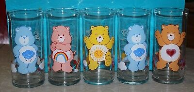 5 Vintage 1983 Pizza Hut Care Bear Collector Glass Glasses Tumblers