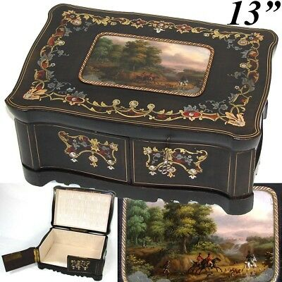 """Antique French Boulle Inlay 12.75"""" Jewelry or Desk Box, Eglomise Fox Hunt Scene"""