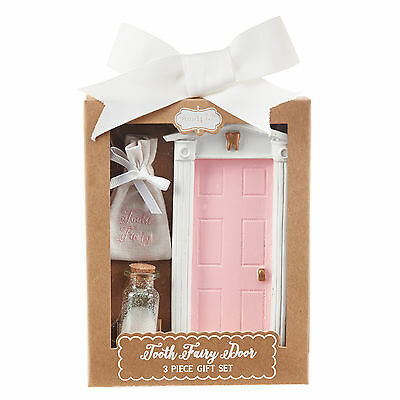 Mud Pie E7 Wall Decor Kids Baby Girl Pink Tooth Fairy Door Gift Set 2002207