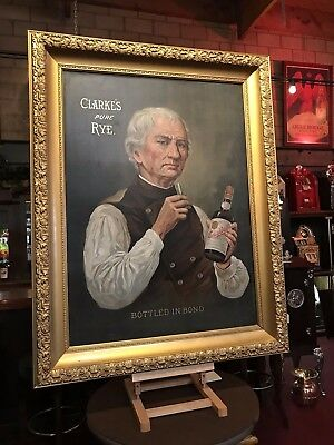 "Large 46"" Early 1900's Clarks PURE RYE Framed Whiskey Ad ""Watch Video"""