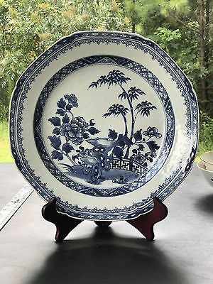 Large 12 Inches Antique Chinese Export Porcelain Blue And White Plate