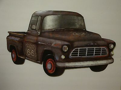 Vintage Style Route 66 Chevy Pick-Up Embossed Metal Sign Garage Man Cave S148