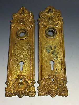 Antique Pair of Bronze Door Back Plates
