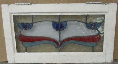 "OLD ENGLISH LEADED STAINED GLASS WINDOW Beautiful Floral 22.5"" x 12.5"""