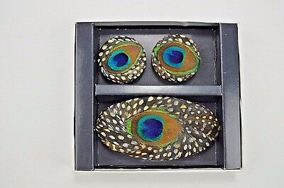Lee Sands Peacock Shoe Clips and Hair Barrett NIB