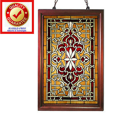 Tiffany Style Stained Glass Window Panel Suncatcher Decoration with Wood Frame