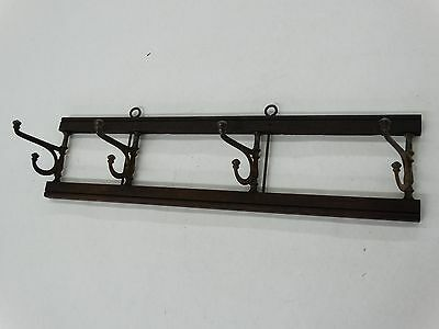 Antique Vintage Wall Mount Hat Coat Rack With 4 Double  Swivel Hooks