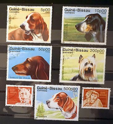 Guinea-Bissau Lot of 7 old  stamps USED  animals DOGS monkey