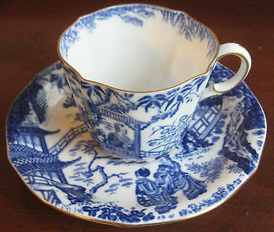 Royal Crown Derby Blue Mikado Teacup and Saucer .