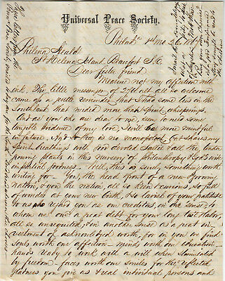Universal Peace Society Philadelphia 1867 Freed Slaves Blacks Great Letter