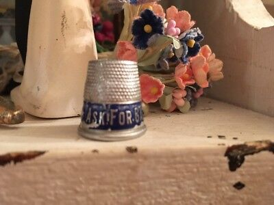 ANTIQUE Vintage SILVER SEWING THIMBLE * Ask For Gate City Ice cream * Virginia