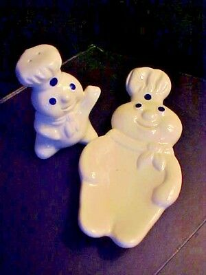 Vintage 1985 Pillsbury Doughboy Spoon Rest and Shaker