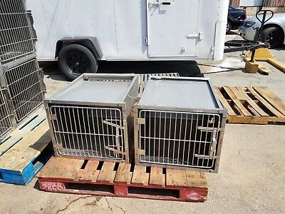 Stainless Steel Kennel Cages 24x20x28 Cat Dog Grooming Used (Shor-line Type)