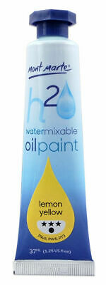 Mont Marte H2O Water Mixable Oil Paint 37ml - Lemon Yellow