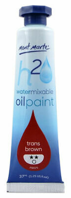 Mont Marte H2O Water Mixable Oil Paint 37ml - Trans Brown